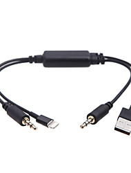 abordables -Kkmoon coche auto usb 3.5mm aux adaptador cable de interfaz para bmw mini cooper para ipod iphone 5 5s 5c