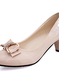 cheap -Women's Heels Light Soles Summer Patent Leather Walking Shoes Casual Bowknot Chunky Heel White Black Beige Screen Color 3in-3 3/4in