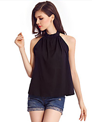 cheap -Women's Daily Date Vacation Going out Vintage Cute Street chic Summer Blouse,Solid Crew Neck Sleeveless Chiffon Thin