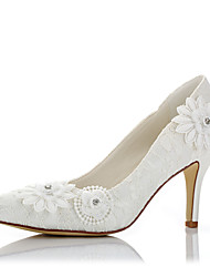 cheap -Women's Heels Comfort Fall Winter Lace Satin Wedding Dress Party & Evening Applique Stiletto Heel Ivory 3in-3 3/4in