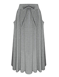 cheap -Women's Daily Midi Skirts,Casual Swing Cotton Rayon Solid All Seasons