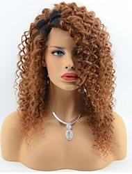 cheap -Brazilian Virgin Hair Curly Glueless Lace Front Human Hair Wigs for Black Women 2 Tone Ombre T1B/30 Color Side Part Lace Wigs With Baby Hair