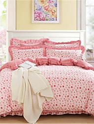 cheap -Floral 4 Piece Cotton Cotton 1pc Fitted Sheet 4pcs (1 Duvet Cover, 1 Flat Sheet, 2 Shams)