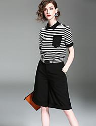 baratos -Mulheres Camiseta Listrado Calça Colarinho Chinês