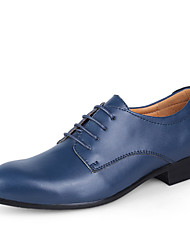 cheap -Men's Shoes Leather Spring / Fall Light Soles Wedding Shoes Dark Brown / Blue / Light Brown / Dress Shoes