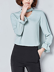 cheap -Women's Going out Casual Blouse,Solid Round Neck Long Sleeves Cotton