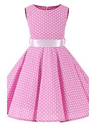 cheap -Girl's Polka Dot Dress,Cotton All Seasons Sleeveless Bow Blushing Pink