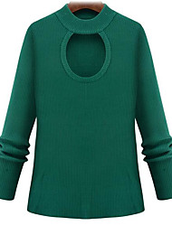 cheap -Women's Beach Regular Pullover,Color Block Round Neck Long Sleeves Others Spring Summer Medium Micro-elastic