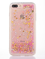 cheap -Case For Apple iPhone 7 Plus iPhone 7 Shockproof Flowing Liquid Transparent Pattern Back Cover Glitter Shine Soft TPU for iPhone 7 Plus