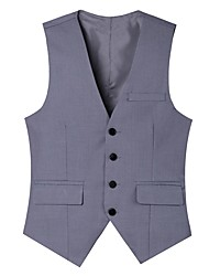 cheap -Men's Going out Work Street chic Spring Fall Vest,Solid V Neck Sleeveless Regular Cotton Polyester