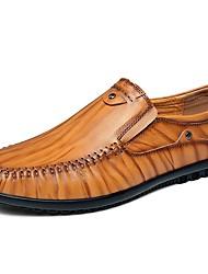 preiswerte -Herrn Schuhe Leder Sommer Herbst Komfort Loafers & Slip-Ons Kombination Geflochtene Riemchen für Normal Schwarz Hellbraun Dunkelbraun
