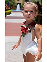 Недорогие -малыш Девочки Цветы Без рукавов Полиэстер Комбинезон Белый / Дети (1-4 лет)