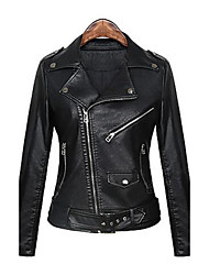 cheap -Women's Daily Street chic Punk & Gothic Spring Fall Leather Jacket,Solid Peaked Lapel Long Sleeve Regular PU