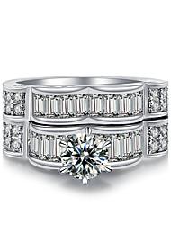 preiswerte -Damen Luxus / Mehrlagig Kubikzirkonia Kubikzirkonia / Silber Bandring - Kreisform Luxus / Retro / Mehrlagig Silber Ring Für Hochzeit /