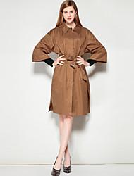 preiswerte -Damen Solide Einfach Freizeit Alltag Ausgehen Standard Mantel, Hemdkragen Winter Herbst Baumwolle Polyester Nylon