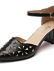 cheap -Women's Heels Light Soles Spring Fall PU Casual Dress Buckle Block Heel Blushing Pink Black White 2in-2 3/4in