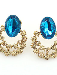 Women's Fashion Hollow Blue Sea Crystal Diamond Big Earrings