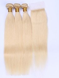 cheap -Brazilian Hair Straight Hair Weft with Closure Human Hair Weaves Light Blonde Human Hair Extensions
