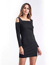 cheap -Women's Daily Holiday Going out Club Bodycon Dress,Solid Strap Mini Long Sleeves Polyester Winter Fall High Rise Micro-elastic Thin