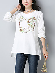 Women's Casual/Daily Ethnic Print Fall Loose T-shirt Embroidery Round Neck Long Sleeve Cotton Linen Medium