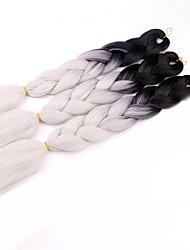 """Недорогие -24 """"3шт ombre jumbo волосы косы черный / серый два тона вязание крючком волос косы волос расширение"""