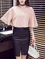 Women's Daily Going out Boho Winter Fall T-shirt Skirt Suits,Solid Stand ¾ Sleeve Polyester Inelastic
