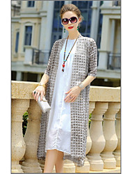 YENMEINAR Women's Casual/Daily Simple Fall Trench CoatPrint Shirt Collar  Sleeve Long Polyester