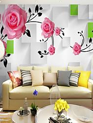 Недорогие -Ар деко 3D Цветы Обои Для дома Современный Пастораль Стиль Облицовка стен , Холст материал Клей требуется фреска , Обои для дома