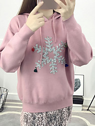 Women's Casual/Daily Regular Pullover,Print Hooded Long Sleeves Acrylic Spring Thin Micro-elastic