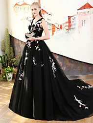 cheap -Princess V Neck Court Train Satin Tulle Rehearsal Dinner / Formal Evening / Black Tie Gala Dress with Embroidery Bandage Side Draping by