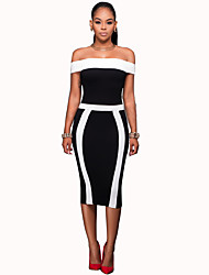 cheap -Women's Party Club Vintage Sexy Bodycon Dress,Color Block Patchwork Boat Neck Knee-length Sleeveless Polyester Spandex Summer High Rise