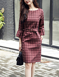 Women's Going out Work Simple Slim Thin Shift Dress Check Round Neck Knee-length 3/4 Length Sleeves Flare Sleeve Spring Fall