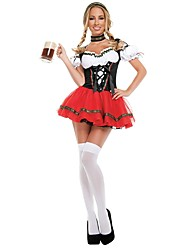 cheap -Maid Costume Oktoberfest Bavarian Cosplay Costume Outfits Female Adults' Oktoberfest Festival / Holiday Halloween Costumes Red Vintage