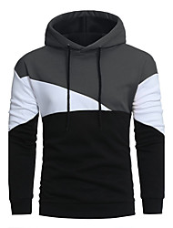 cheap -Men's Daily Sports Going out Casual Hoodie Solid Hooded Micro-elastic Nylon Long Sleeve Winter Fall