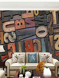 Wood Grain Letter & Number Wallpaper For Home Modern/Contemporary Wall Covering  Canvas Material Adhesive required Mural  RoomXXXL(448*280cm)