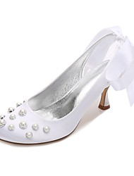 cheap -Women's Shoes Satin Spring Summer Comfort Basic Pump Wedding Shoes Kitten Heel Low Heel Stiletto Heel Round Toe Pearl Imitation Pearl