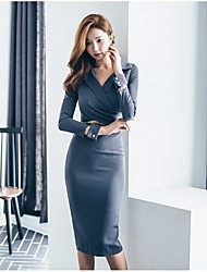 Women's Party Bodycon Dress,Solid V Neck Above Knee Long Sleeves Cotton Summer Mid Rise Micro-elastic Opaque