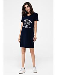 Gaine Tee Shirt Robe Femme Décontracté / Quotidien Grandes Tailles Actif,Imprimé Capuche Mi-long Manches Courtes Automne Taille Normale