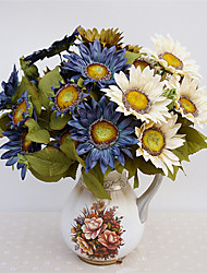 cheap -13 Heads/Bouquet Retro European Style Oil Painting Feel Sunflower Artificial Flowers