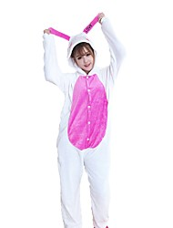 cheap -Adults' Kigurumi Pajamas Rabbit Bunny Onesie Pajamas Flannel Fabric White Cosplay For Animal Sleepwear Cartoon Halloween Festival / Holiday / Christmas