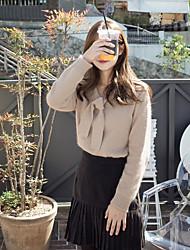 Standard Pullover Da donna-Casual Tinta unita A V Manica lunga Cashmere Poliestere Primavera Sottile Elasticizzato