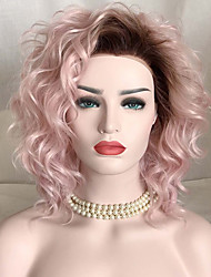 Women Short Pink Loose Wave Synthetic Hair Lace Front Natural Wig Costume Wigs