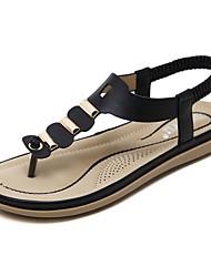 baratos -Mulheres Sapatos Microfibra Primavera Verão Solados com Luzes Sandálias Sem Salto Dedo Apontado Botas Curtas / Ankle Combinação para Ao