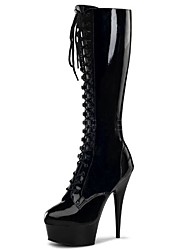Women's Boots Fashion Boots Winter PU Party & Evening Zipper Stiletto Heel White Black Gray Ruby 5in & over