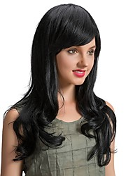 Ethereal Beautiful   Oblique Fringe Black  Long Wave Human Hair Wigs