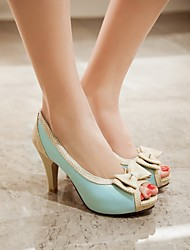 Women's Shoes PU Summer Comfort Heels Chunky Heel For Casual Party & Evening White Beige Blue Blushing Pink