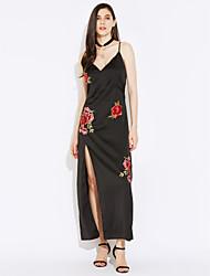 Χαμηλού Κόστους Κέντημα-Γυναικεία Κομψό & Μοντέρνο Swing Φόρεμα - Κέντημα, Μοντέρνο Στυλ Μακρύ