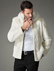 Men's Plus Size Going out Casual/Daily Simple Punk & Gothic Winter Fur Coat,Solid Hooded Sleeveless Regular Others