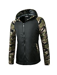 Men's Sports Going out Casual/Daily Simple Spring Fall Jacket,Color Block Hooded Long Sleeve Regular Polyester Cut Out