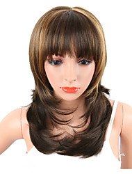 cheap -Synthetic Women's Wavy Wig Brown Mix Blonde Color Naturally African American Hair With Bangs  Heat Resistant Middle Length Natural Wave Capless Wig